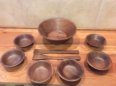 Vintage Quality Heirloom Walnut Wood  Salad Set Bowls Serving Forks
