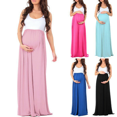 Pregnant Women Color Block Maxi Long Maternity Tank Dress Photo Props Sundress