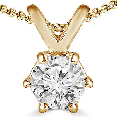 1 Ct G Round Diamond Solitaire Pendant Necklace 14K Yellow Gold