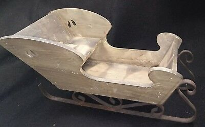 Christmas Sleigh Wood With Wrought Iron Runners Vintage Large 17 Inches handmade
