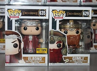 Funko Pop! Lord of the Rings: ELROND Hot Topic Exclusive & GIMLI-NEW & NM to M