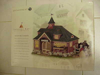 """Dept 56 """"Seasons Bay"""" Breezy Hill Stables 53447 & Side Porch Cafe 53303 MIB"""