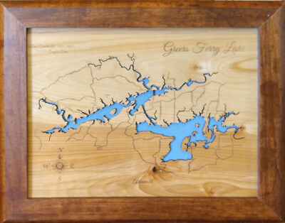 Greers Ferry Lake laser cut wood map