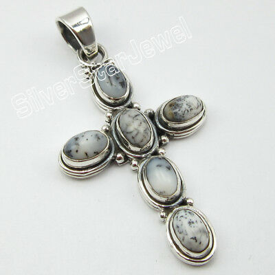 "925 Sterling Silver DENDRITIC AGATE Classic Pendant 1.8"" ! Latest Style"