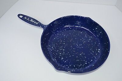 "Vintage LL Bean 10"" Blue and White Speckled Enamel Coated Cast Iron Frying Pan"