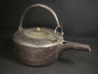 Antique Japanese Meiji Era Cast Iron Tea/choshi Sake Pot Tetsubin Treasure Ship