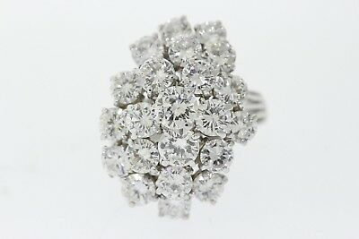 14k White Gold 5.75ct Round Diamond Cluster Waterfall Cocktail Ring (F, VS2-SI1)