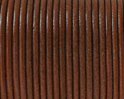 De 5 a 90 metros Cordon cuero autentico 2,5mm NATURAL MARRON MEDIO (CC25-03)