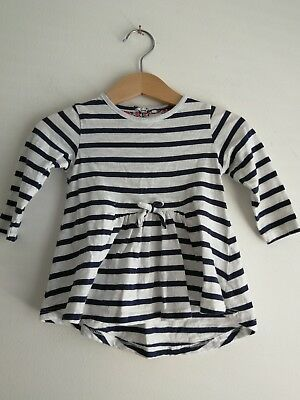 Great Condition Baby Girls 3-6 Months White Navy Striped Dress From Next