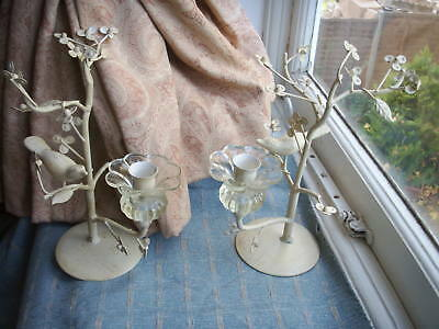 Old Vintage French Style Painted Iron Glass Shabby Chic Pr Bird Tree Candelabra