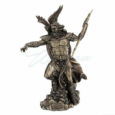 Zeus Sculpture Holding Thunderbolt With Eagle Statue Figurine - Bronze Finish