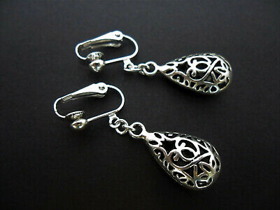 A Pair Of Tibetan Silver Filigree Teardrop Clip On Earrings. New.