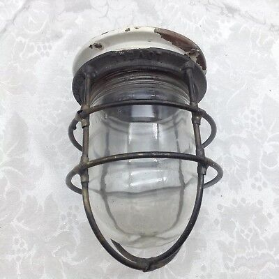 Lovell Ship Light Antique Oxidized Salvaged Nautical Ship Ceiling Cage for Parts