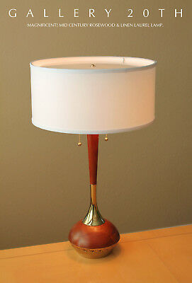 Atomic! Mid Century Modern Laurel Brass & Rosewood Lamp! Eames 50 Vtg Lightolier