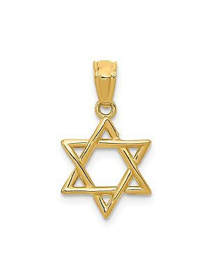 14k Yellow Gold Star of David Charm Pendant - 12x20mm 0.74 Grams