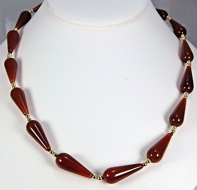 """Egyptian Carnelian Bead Necklace 16"""" Long ~ Museum Store Collection"""