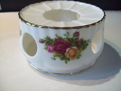 Royal Albert Old Country Roses Tea/Coffee Pot Warmer Stand,displayed only cond.