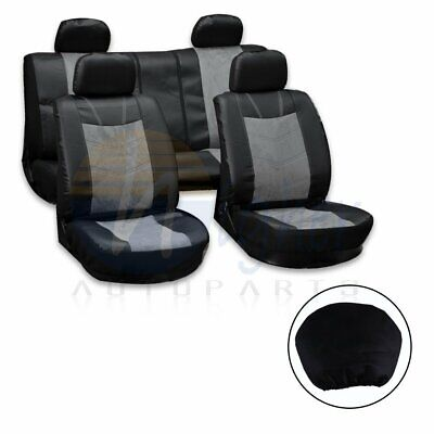 10pcs Grey/Black Semi-PU Leather+Punch Suede Car Seat Covers W/4 HeadRest Covers