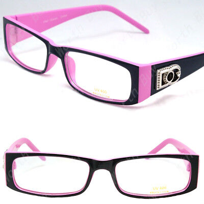 New Womens DG Clear Lens Frame Eye Glasses Rectangular Fashion 2 Tone Ladys Oval