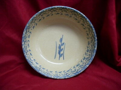 ROBINSON RANSBOTTOM POTTERY RRP Roseville Ohio Blue Spongeware Bowl #2331