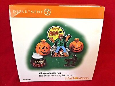 Halloween Accessory Set 5 pcs Dept 56 Snow Village Halloween 53246 haunted A