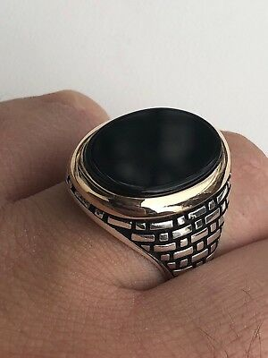 Solid 10k Gold & 925 Sterling Silver Black Onyx Mens LARGE Ring Size 7-13 Pinky