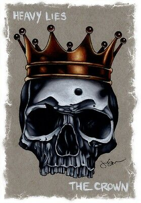 Heavy Lies The Crown by Jeff Saunders King Skull Tattoo Framed Wall Art Print