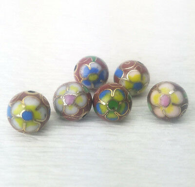Vintage Brown w/ Mixed Flowers Cloisonne Chinese Enamel Round 10mm 6PCs