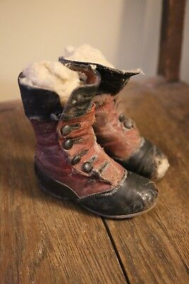PROVENANCE Antique Leather 1913 Child Button Boots Shoes Victorian High Top