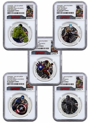 2015 Niue Silver $2 - Avengers - Age Of Ultron - PF70 UC FR - NGC 5-Coin Set