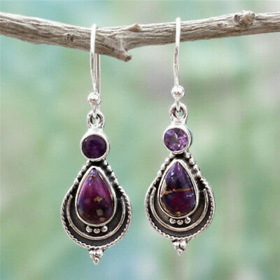 Silver Tone Vintage Boho Water Drop Dangle Hook Earring Women Charm Jewelry S