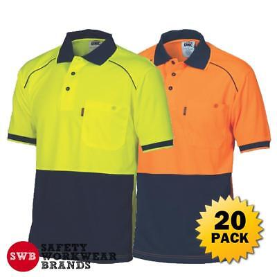 20 x DNC Workwear Mens Hi Vis Cool 2 Tone Front Piping Polo Shirt Work New 3754