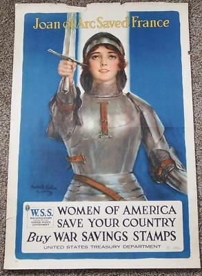 "Original WWI ""Joan of Arc Saved France"" Poster - 1918 Haskell Coffin - 30"" x 20"""