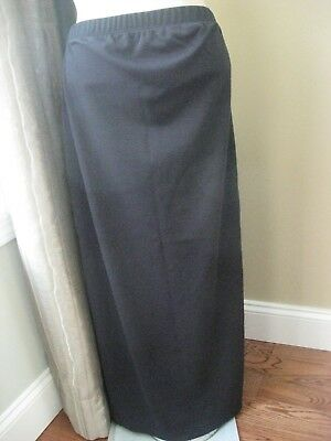 In Due Time Maternity Black Knit Maxi Skirt Back Slit Size Small EUC
