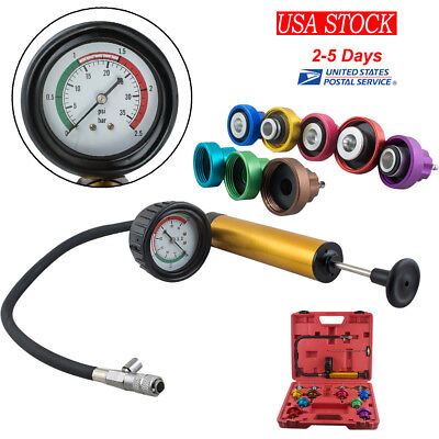 US SHIP Radiator Pressure Cooling System Leak Tester Water Tank Adapter Detector