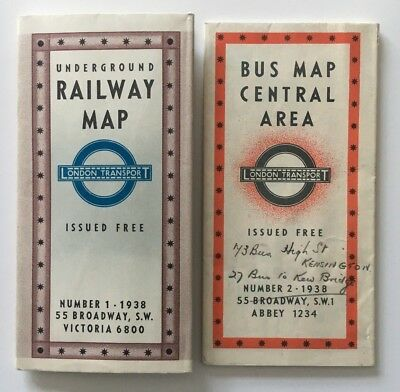 Vintage 1938 London Underground Railway Map No 1 and Bus Map Central Area No 2