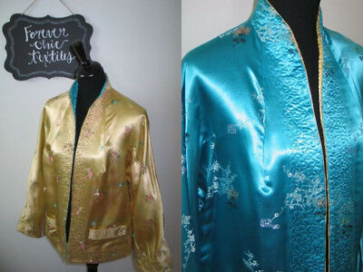 Antique Vintage Satin Kimono-Jacket-Opera Coat Embroidered-Hong Kong Reversible