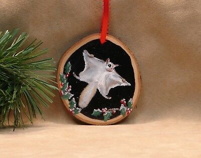 Hand Painted Wood Slice Christmas Ornament Glitter Flying Squirrel Holly Snow