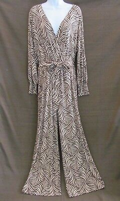 3b28760d66f Nikki Poulos Plus 1X Women s Brown Tan Print Long Sleeve Stretch Belted  Jumpsuit