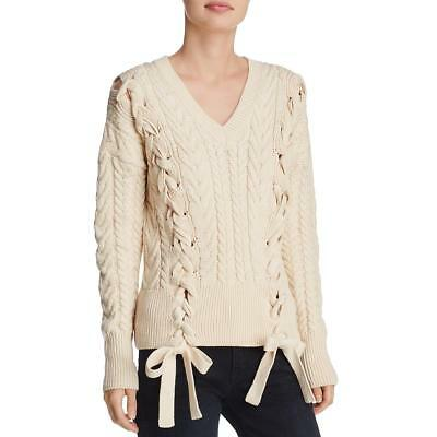 Do + Be Womens Ivory Cable Knit V-Neck Winter Pullover Sweater Top S BHFO 1836