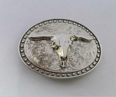 Silver figured ox head Automatic belt buckle Smooth button zinc alloy buckle