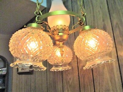 Antique Vintage Art Deco Art Nouveau 4 Light Hanging Ceiling Chandelier Brass