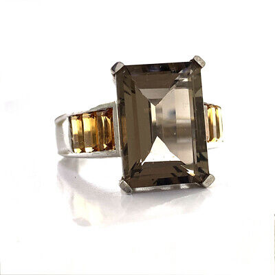 Smoky Quartz & Citrine 8.00 ctw Emerald Cut 0.925 Sterling Silver Ring