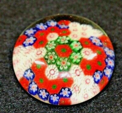 Millefiori Paperweight Glass Molten Flowers Rods Hand-Blown in Colorful Dome VTG