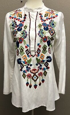 1ac7fc4c537 TORY BURCH ISLA Embroidered Tunic White Red Stretch Cotton Poplin sz ...