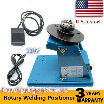 """110V Rotary Welding Positioner Turntable Table 2.5"""" 3 Jaw Lathe Chuck 2-10RPM US"""