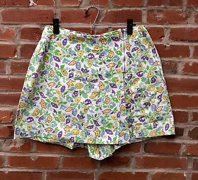 Vintage 60s 70s Bright Floral Print Skirt Skort Ring Pull Zipper Womens (1803)
