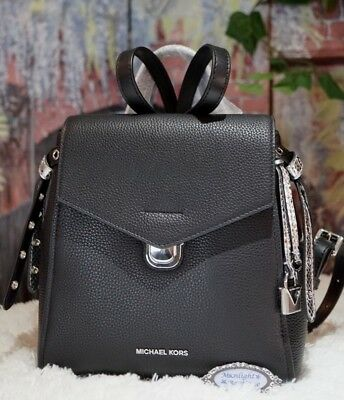 NEW MICHAEL KORS BRISTOL Small Backpack In BLACK/SILVER Pebbled Leather $298