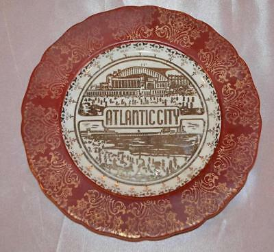 Antique Atlantic City Plate 22 K Gold Hand Painted Mardi-Gras Civic Auditorium