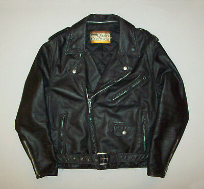 Old Vtg Ca 1960s Leather Morotcycle Jacket Two Star Montgomery Ward Size 40 Reg